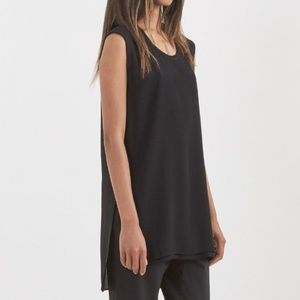 Helmut Lang Round Neck Silk Tank in Black Sz M